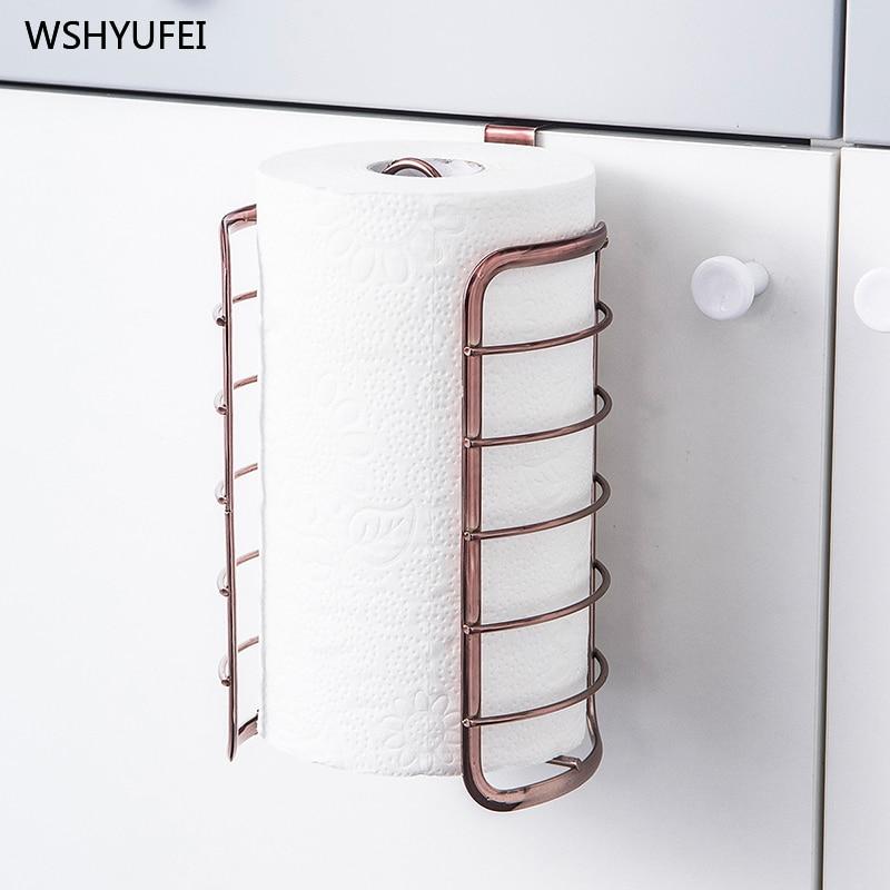Soporte de toalla de papel de cocina de oro rosa creativo de marketing directo para puerta de baño