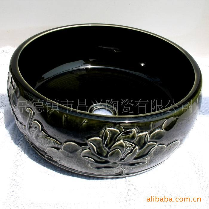 Gifted class professional production of sanitary ware wash basin 10 PROSPERITY 40 cm deep dark green hand-carved washbasin