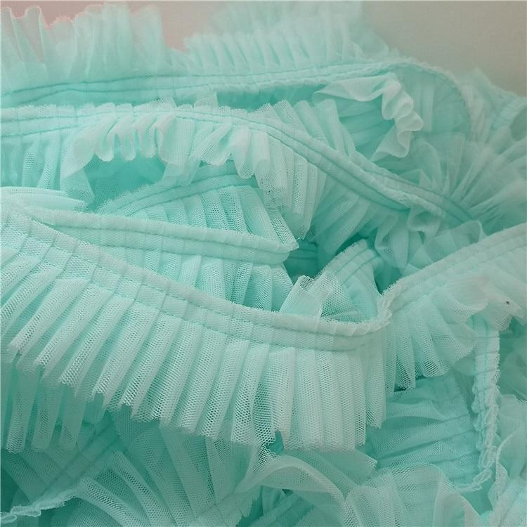 Mais recente Fita de Tule Plissado Tecido de Renda Guipure Guarnição Do Laço Do Vestido de Casamento dentelle Costura Acessórios Enfeites Para Roupas LQ10