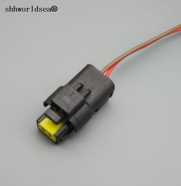 Shhworldsea 1 pçs 2 pinos/maneira à prova dautomotive água conector fêmea automotivo plugue do sensor de temperatura da água com fio trança 211pc022s0049