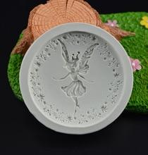 3D Hada de las flores Angel Girl Fondant Chocolate moldes de silicona para decoración de pasteles herramientas de jabón arcilla/Goma torta Pop receta H422