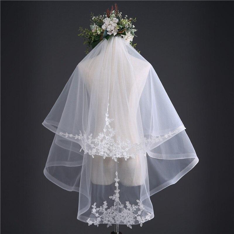 Short 2 capas de alta calidad velos de novia baratos borde de encaje accesorios de boda velo de novia