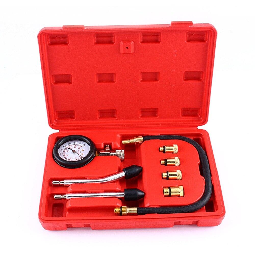 Kit 9 en 1 moto automobile manomètre moteur essence testeur de Compression manomètre outils de Test Set outil de Diagnostic