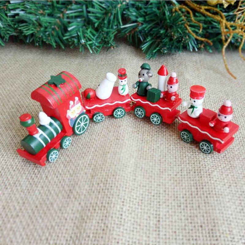Cute Little Wood Christmas Train Toy Ornament Decoration Santa Claus Snowman Navidad Natal Train Decors Best For Xmas Kids Gift недорого