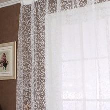 Europe Style Jacquard Floral Window Curtain Sheer Drape Panel Sheer Scarf Valances Tulle Fabrics Sheer Curtains