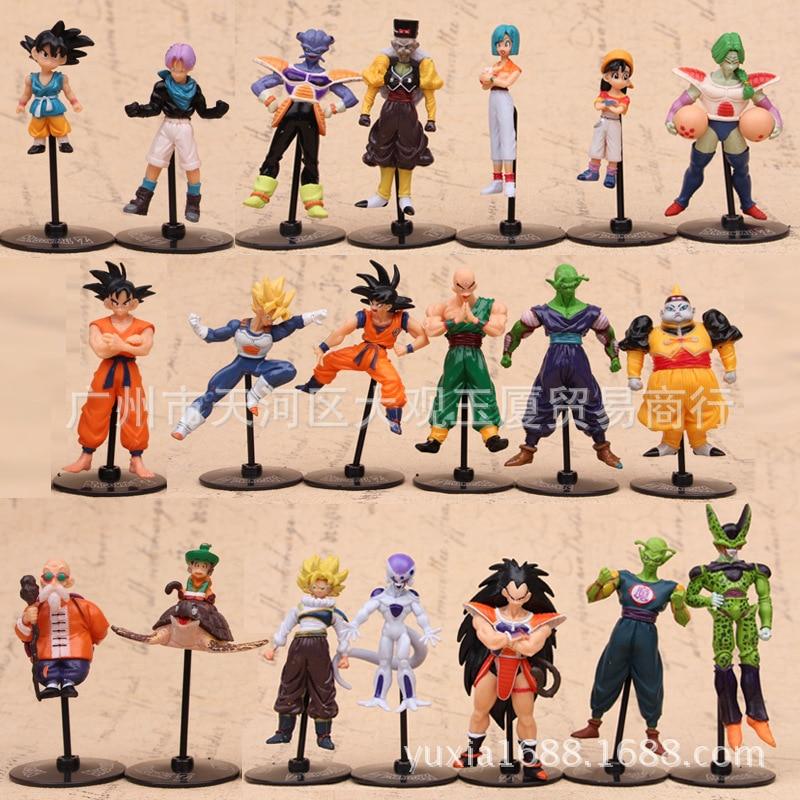 10 unids/lote pelota de dragón Z GT juguete de figura de PVC Goku Vegeta Goten celular freezer Piccolo maestro Roshi modelo DBZ muñeca para niños dos estilo