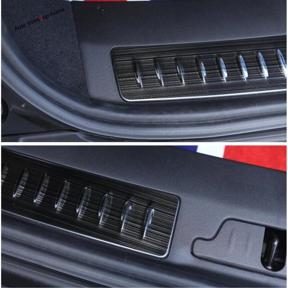 Yimaautotrims Inner Rear Trunk Guard Door Protector Sill Plate Cover Kit For Land Rover Range Rover Velar 2018 - 2021 Interior