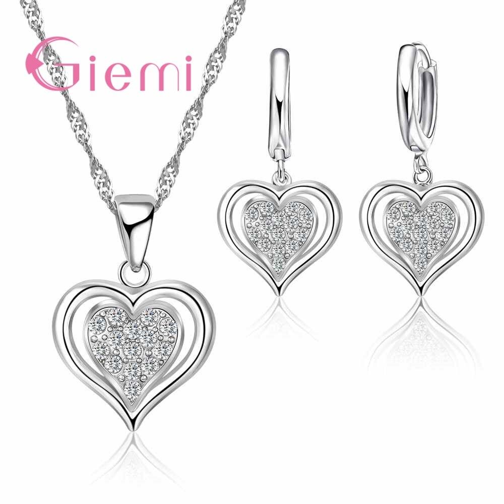 Романтическое милое ожерелье в форме сердца, серьги, одежда для покупок, комплект ювелирных изделий из стерлингового серебра 925 пробы и CZ
