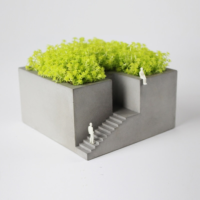 Exquisite concrete building style Garden flower pots Handmade have stairs interesting concrete desktop decoration storage box
