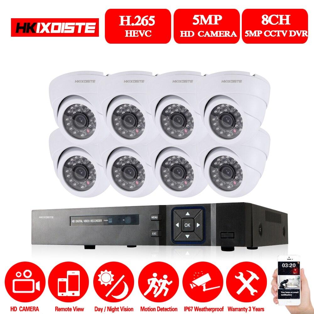 HKIXDISTE 5MP de vigilancia CCTV Kit de 5.0MP sistema de cámaras de seguridad 8ch DVR 1944P salida de Video de CCTV fácil vista remota en el teléfono
