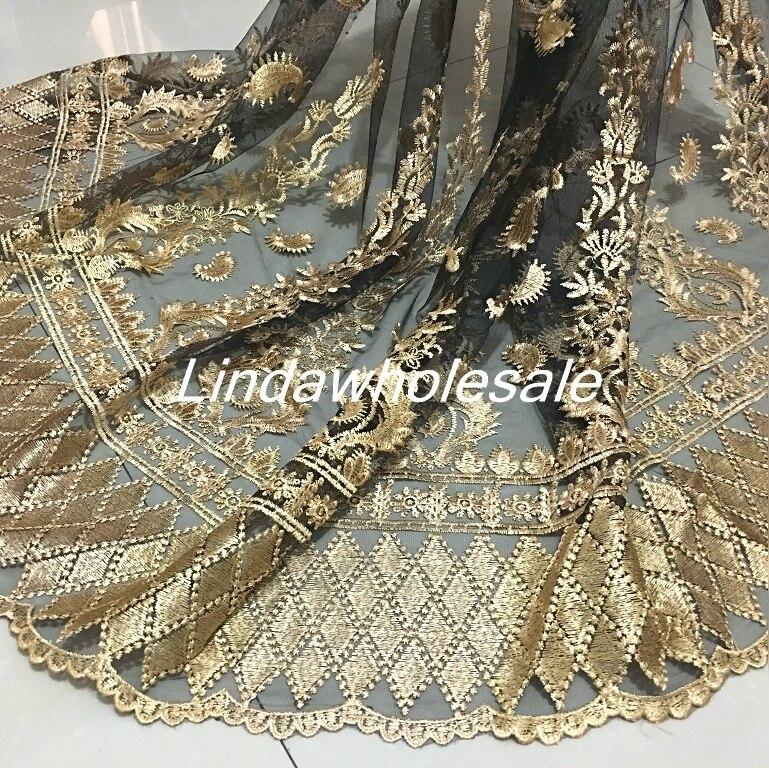 Tela de encaje ondulado, tela de ropa de Bordado dorado, encaje de hilo de red negro bordado dimensional, 130cm * 50 cm/Uds