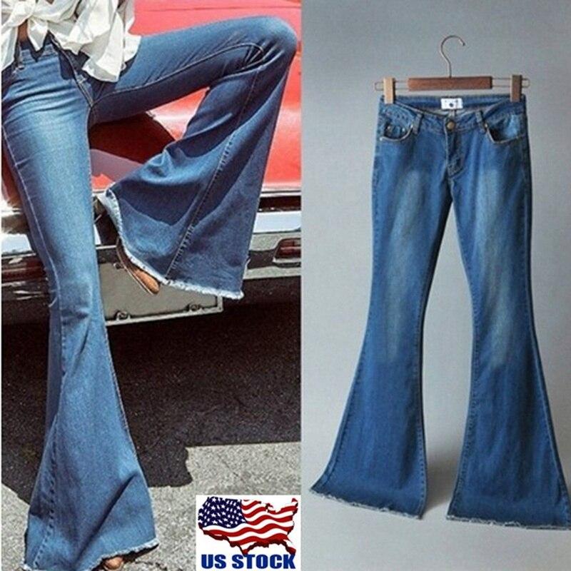 Laamei 2019 Fashion Women Loose High Waist Wide Leg Jeans Skinny Slim Flare Pant Denim Jeans Retro Bell Bottom Stretch Trouser
