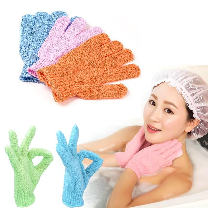 Guantes para baño y ducha de una pieza, exfoliante, lavado de piel, Spa, masaje, exfoliante, guantes con cerdas para mujer