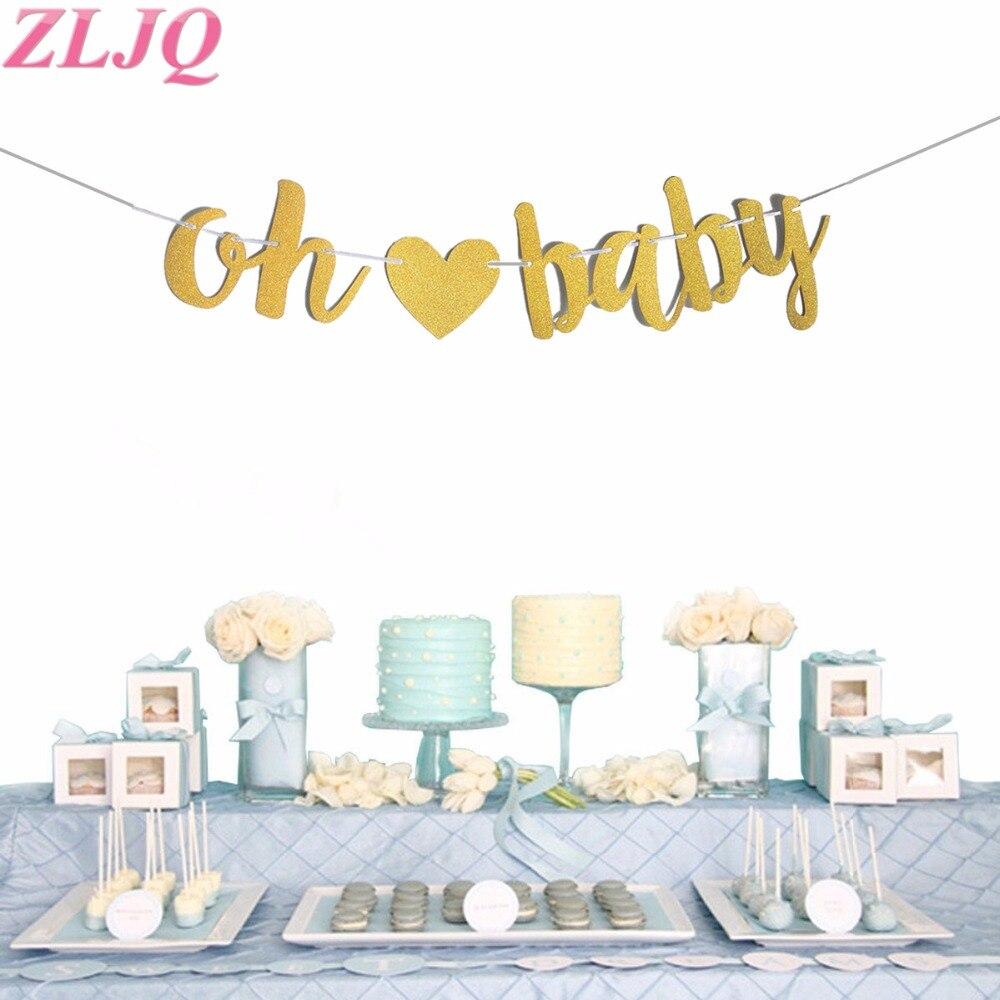 ZLJQ со сверкающими золотистыми с надписью Oh Baby баннер Пол раскрыть вечерние овсянка украшения гирлянды для Baby Shower или для вечеринки по случаю День рождения Декор воздушные шары