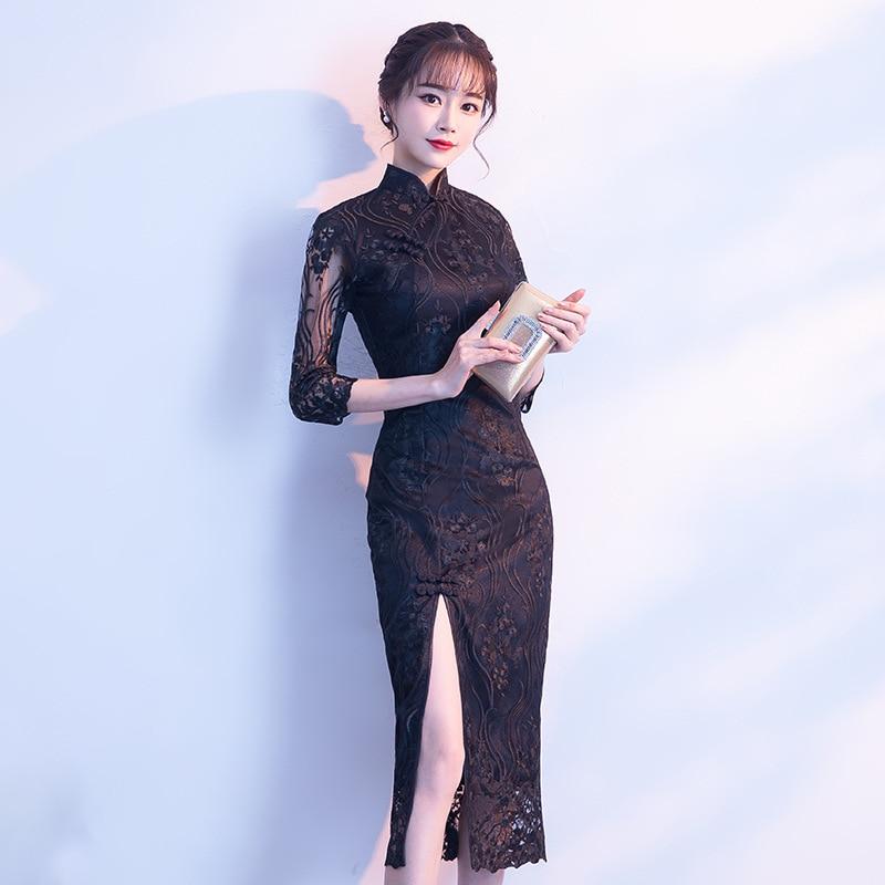 2020 Black Chinese Wedding Dress Female Long Short Sleeve Cheongsam Slim Chinese Traditional Dress Women Qipao for Wedding Party