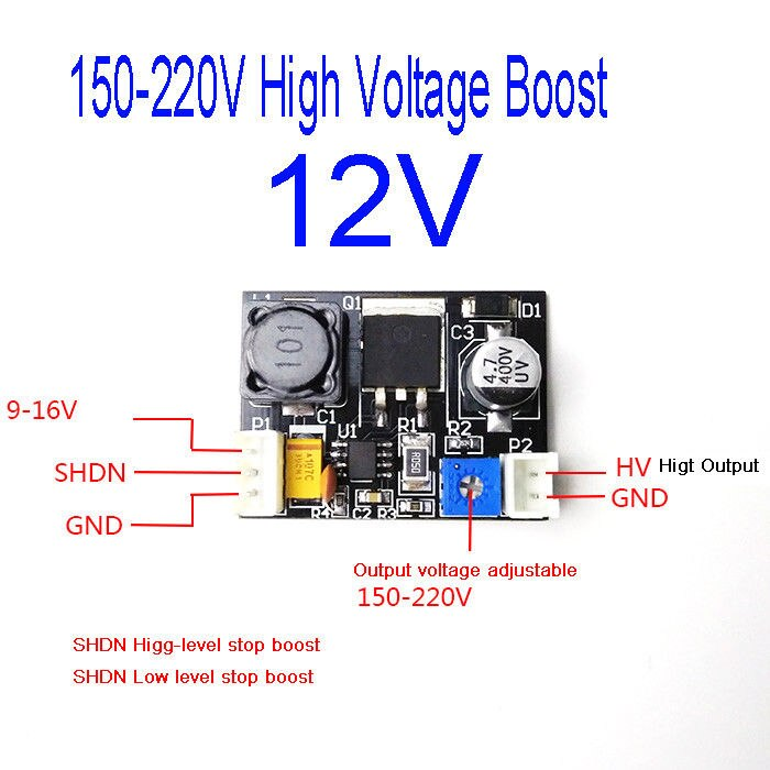 DC 12v до 170V 150v-220V высоковольтный повышающий DC модуль питания для Nixie Tube Glow Magic Eye MAX1771