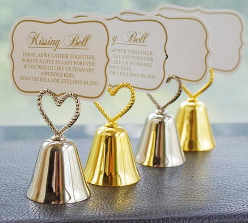 """Tarjeta de lugar de """"besando campanas"""" al por mayor/soporte de foto decoración de mesa de fiesta de boda dorada regalo para el invitado LX2745"""
