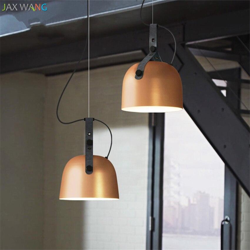 Vintage Industrial Americano luces colgantes de hierro para comedor dormitorio Bar Sala sala de estar arnés de cuero lámparas LED Accesorios