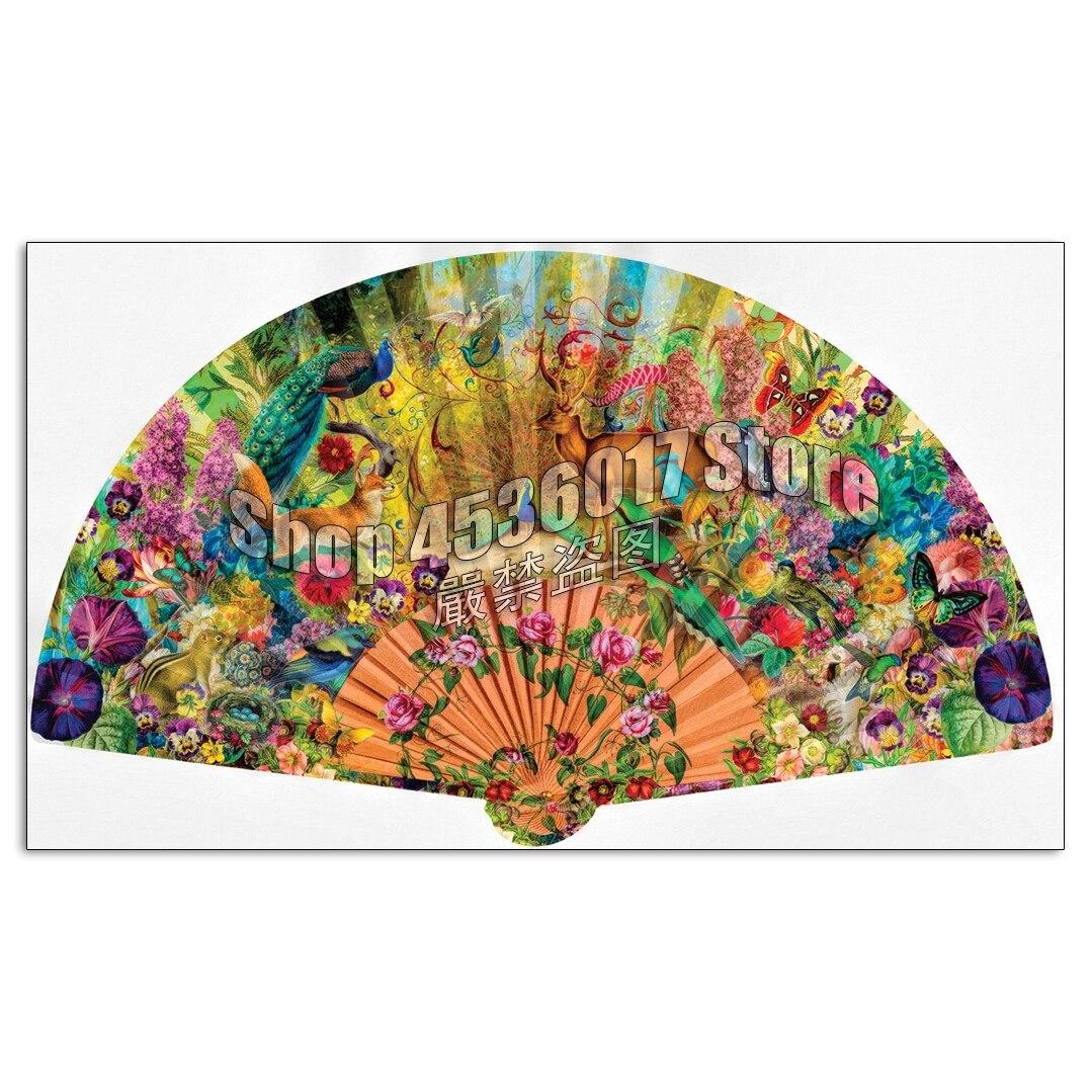Full Drill DIY Diamond Painting Fan Garden & Flowers Wildlife  Embroidery Cross Stitch Rhinestone Decor Mosaic Home Decoration