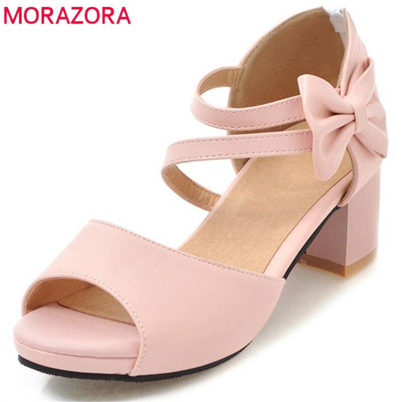 ¡Novedad de 2020! Sandalias de mujer de MORAZORA, zapatos de verano con lazo de moda de talla grande 34-47, zapatos informales rosas, zapatos sencillos para mujer