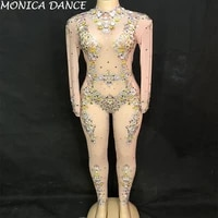 women net yarn sexy jumpsuit sparkling crystals bodysuit nightclub birthday stage costume party stage wear bling dance costumes