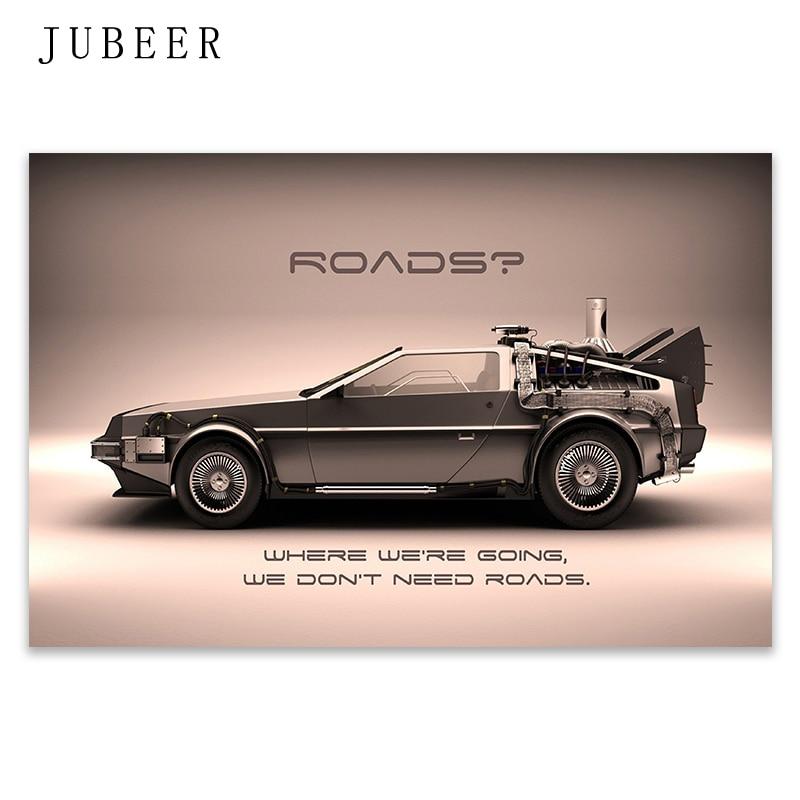 Volver al futuro arte de coches impresión de cartel de seda 12x18x24x36 pulgadas película clásica de pared Pared de habitación Decoración