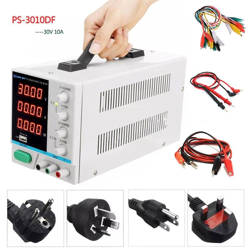 Новый LW PS-3010DF лабораторный источник питания постоянного тока 30V10A высокое precision4-digit светодиодный дисплей USB зарядка ремонт импульсный источник питания