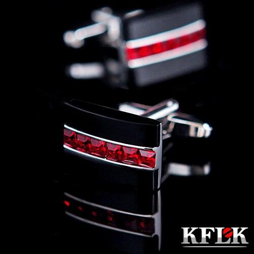 KFLK camisa caliente de lujo gemelos para hombre regalo de marca Botón de brazalete de cristal rojo gemelos de alta calidad abotoaduras joyas