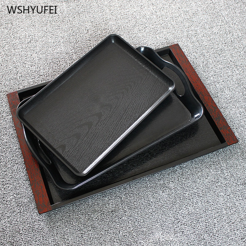2Pcs Direct Japanese tea set tray home living room storage bathroom toiletries imitation wood grain rectangular fast food tray