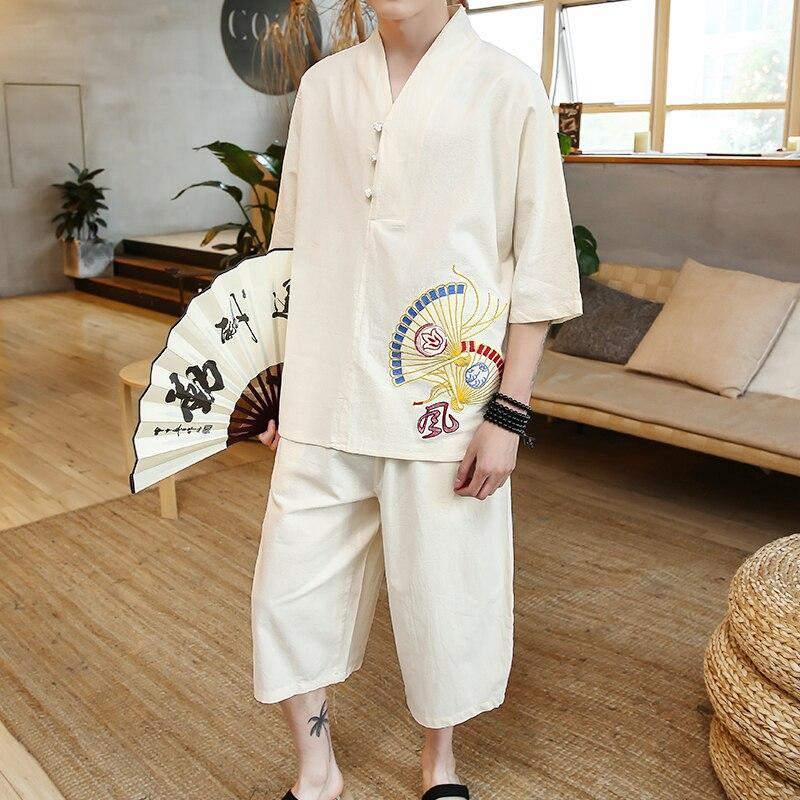 Conjuntos de hombre de estilo chino 2018, nuevo traje de lino informal de verano para hombre, ventilador corto Retro bordado, Camiseta de algodón y lino + Pantalones