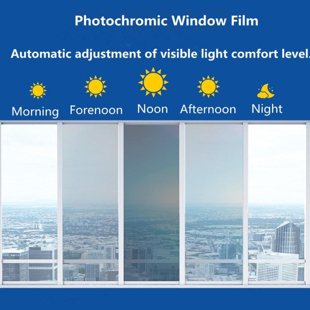 Deseos SUNICE fotosensibles película de la ventana de privacidad de cambio el VLT UV de vidrio Solar tinte coche de construcción de aislamiento de calor 1,52*10 m adhesivo