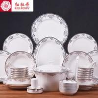 tangshan 56 head bone china tableware suit european household ceramic bowl dishes set complete modern minimalist