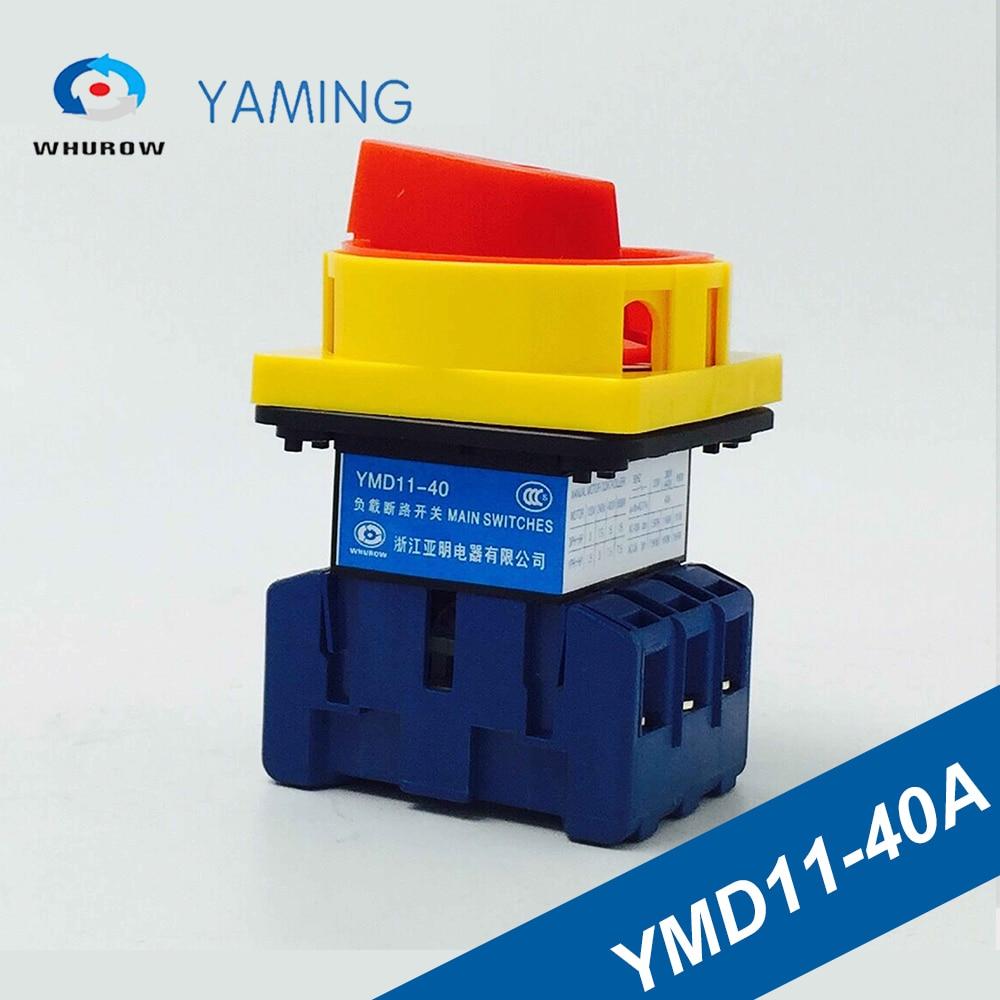 Interruptor de comutação 40a 3 p cam interruptor de comutação 6 contatos sliver interruptor de ruptura de carga YMD11-40A interruptor de interrupção de carga universal