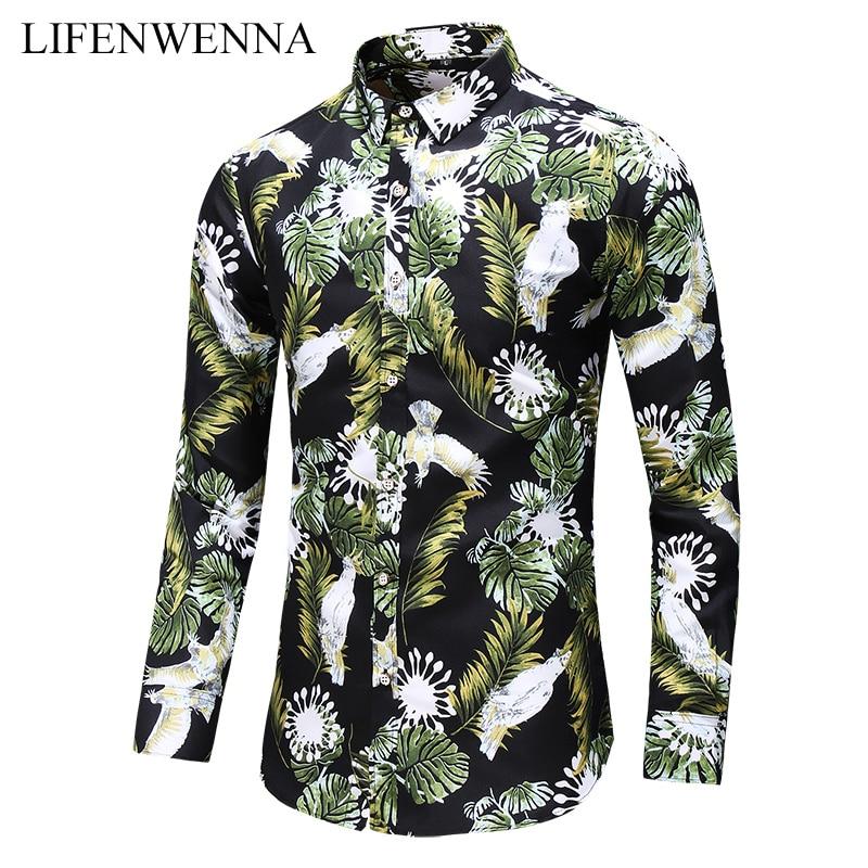 Talla grande 6XL 7XL camisa de hombre otoño nueva moda flores estampadas camisas de manga larga hombres Casual oficina de negocios Floral camisas de hombre