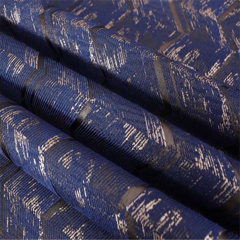 "SASKIA 1 metro Jacquard brocado tela poliéster telas hilo Material coser vestido ropa Patchwork almohada 57 ""Diy Blue Gold Cafe"
