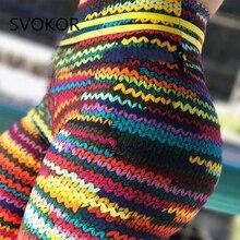 SVOKOR Push-Up der Frauen Legging Stricken Polyester Ankle-Länge Jeggings Stretching Roman Druck Hohe Taille Gilr Legging Fitness