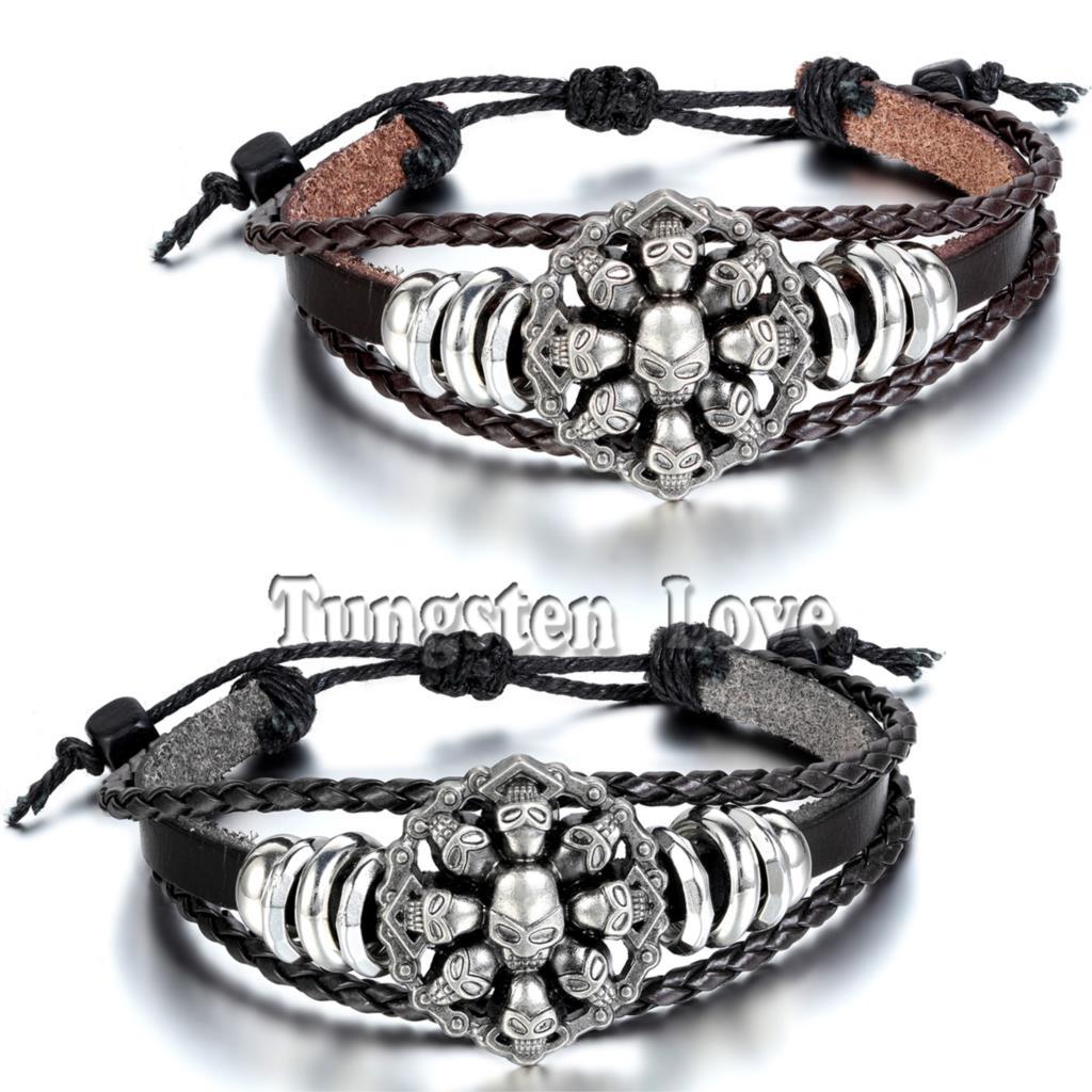 2020 Vintage tressé Bracelet à breloques bracelets Punk crâne squelette Bracelet manchette en cuir Bracelet pour hommes réglable
