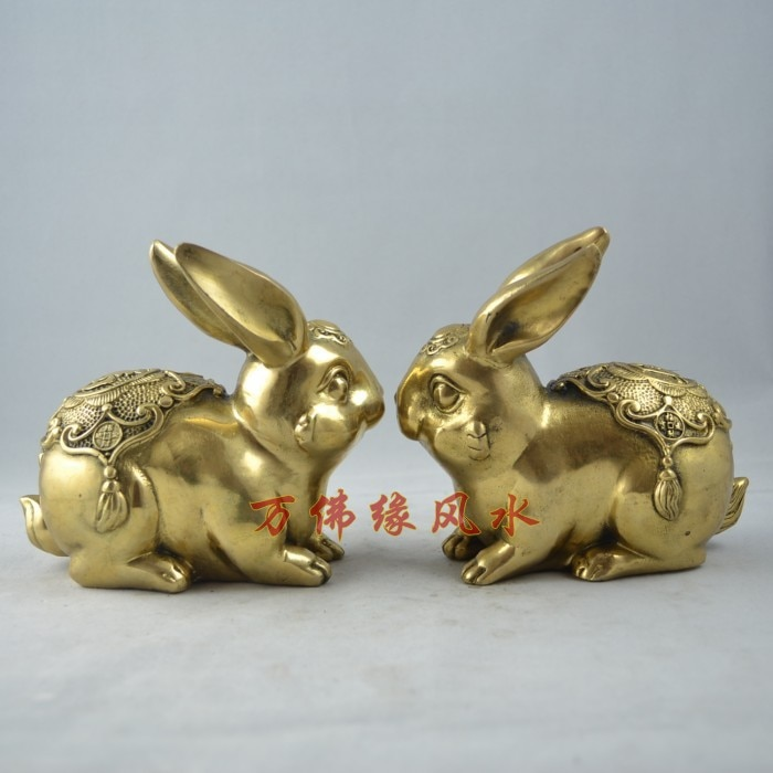Pure brass lucky zodiac rabbit  rabbit dr. peach zodiac decoration  Bronze art Crafts copper decoration