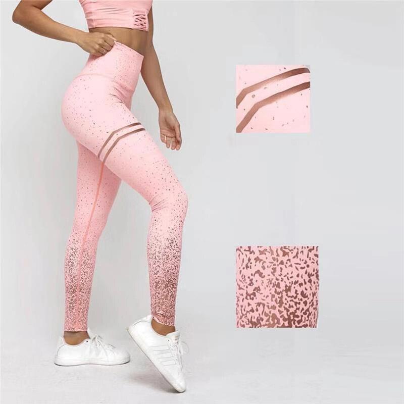 Estampado pantalones de Yoga de oro alta cintura Leggings de Deporte Fitness las mujeres arriba gimnasio medias Mallas Mujer Deportivas Leggins