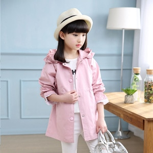 2017 Children Girl Trench Coat Spring Fashion Lace Hoodied Jackets Cotton Coats Hoodies Outfits 4-14T