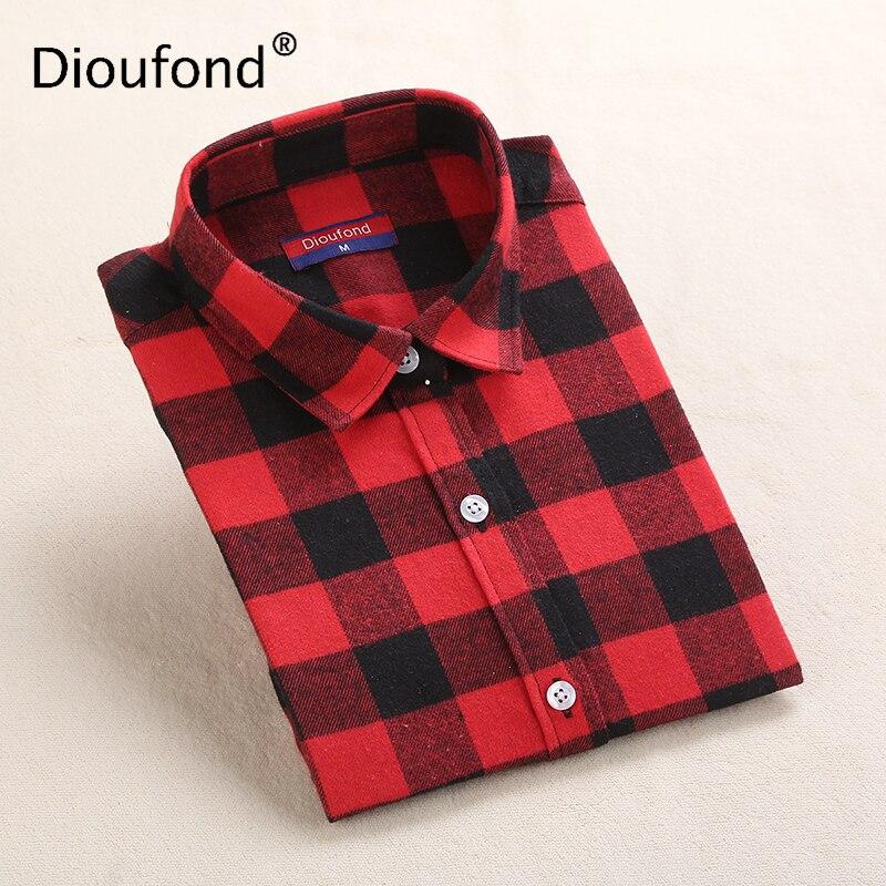 Dioufond, Camisa de franela a cuadros para mujer, blusa informal de algodón, Camisas de mujer de talla grande para invierno, Camisa femenina roja y azul, Top de primavera 2020