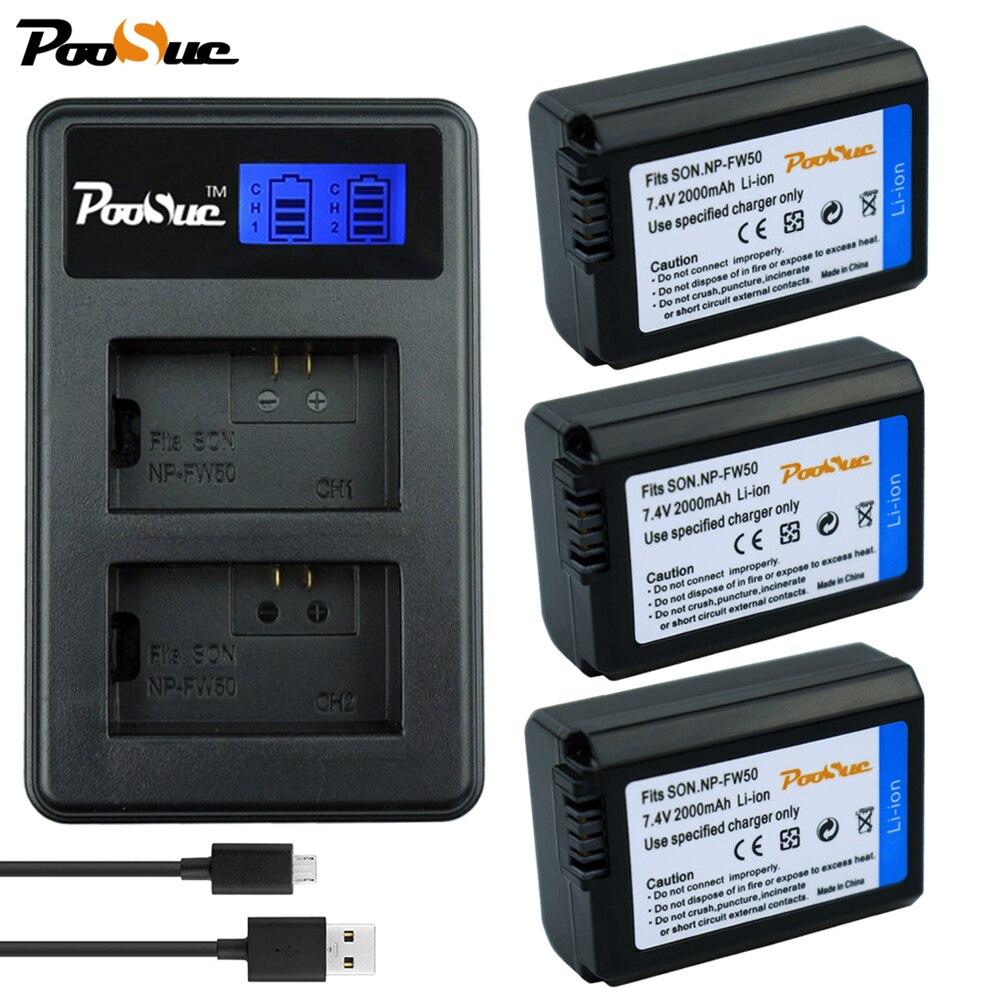 3x NP-FW50 Kamera Batterie + NP FW50 LCD USB ladegerät Für Sony a37 a6000 NEX-7 NEX-5N NEX-3 NEX-3DW NEX-3K NEX-5C NEX-5DB Alpha 7R