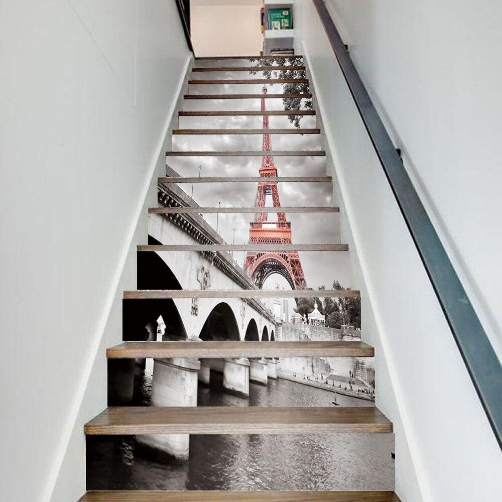 13 unids/set City Tower Stairway Stickers 3D DIY Bridg pegatina de pared escaleras decoración paso autoadhesivo arte Mural calcomanías Póster
