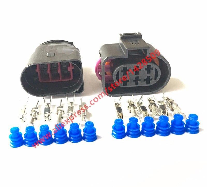 10 Conjuntos de 6 Pin 3.5 Auto LSU 4.2 Sensor De Oxigênio conector Para VW AUDI PASSAT 1J0973733 1J0 973 733 Do Sexo Feminino masculino