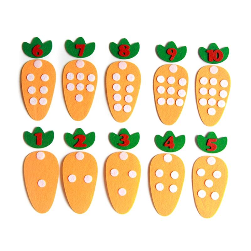 10 unids/set juego de números de puntos de zanahoria para niños en edad preescolar Material educativo juguete de guardería Montessori enseñanza