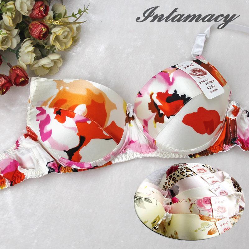 Sutiã de seda 100% roupa interior de seda dupla face impressão de seda moda sutiã de saúde