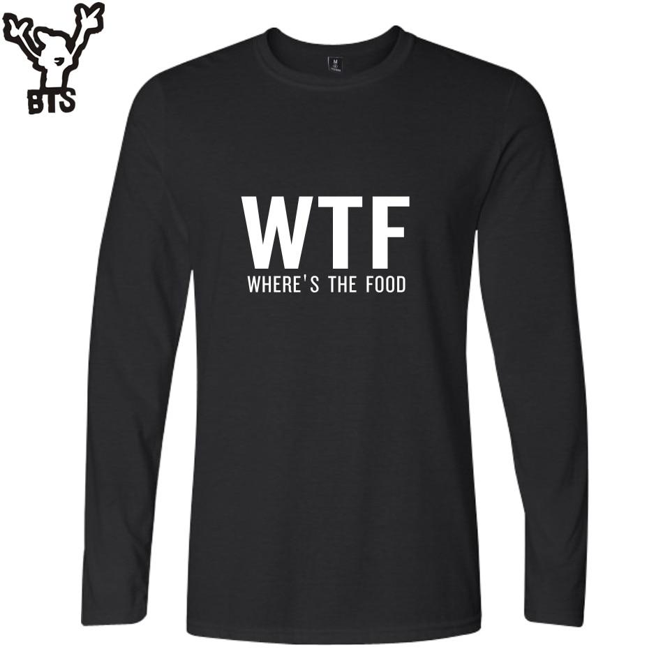 Camisetas kpop WTF para hombre, Camiseta de algodón de manga larga de otoño y primavera, camiseta de hombre con estampado de letras de hip hop, camiseta informal para hombre 4XL