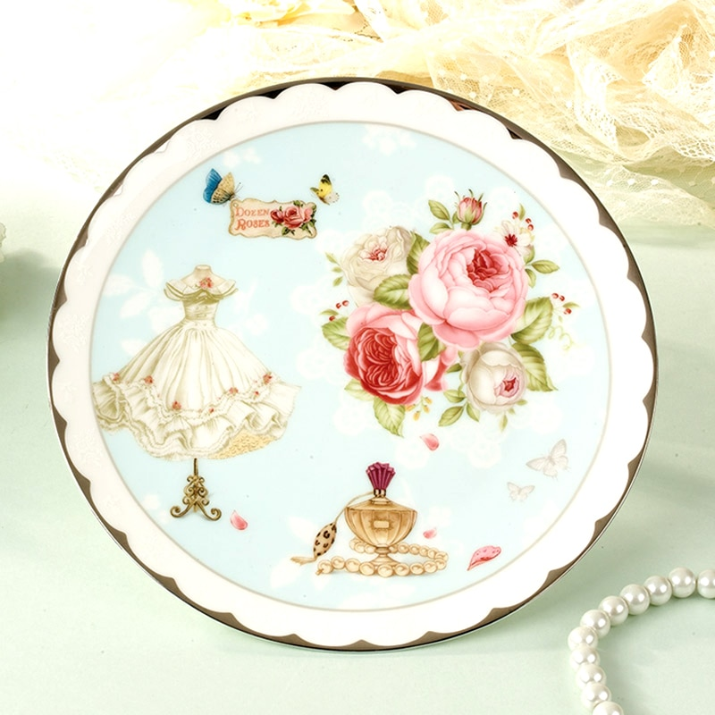 8 Inch Ceramic Plate Europe Elegant Bone China Cake Dishes & Plates Floral Porcelain Fruit Dessert Tray Dining Plates Dinnerware