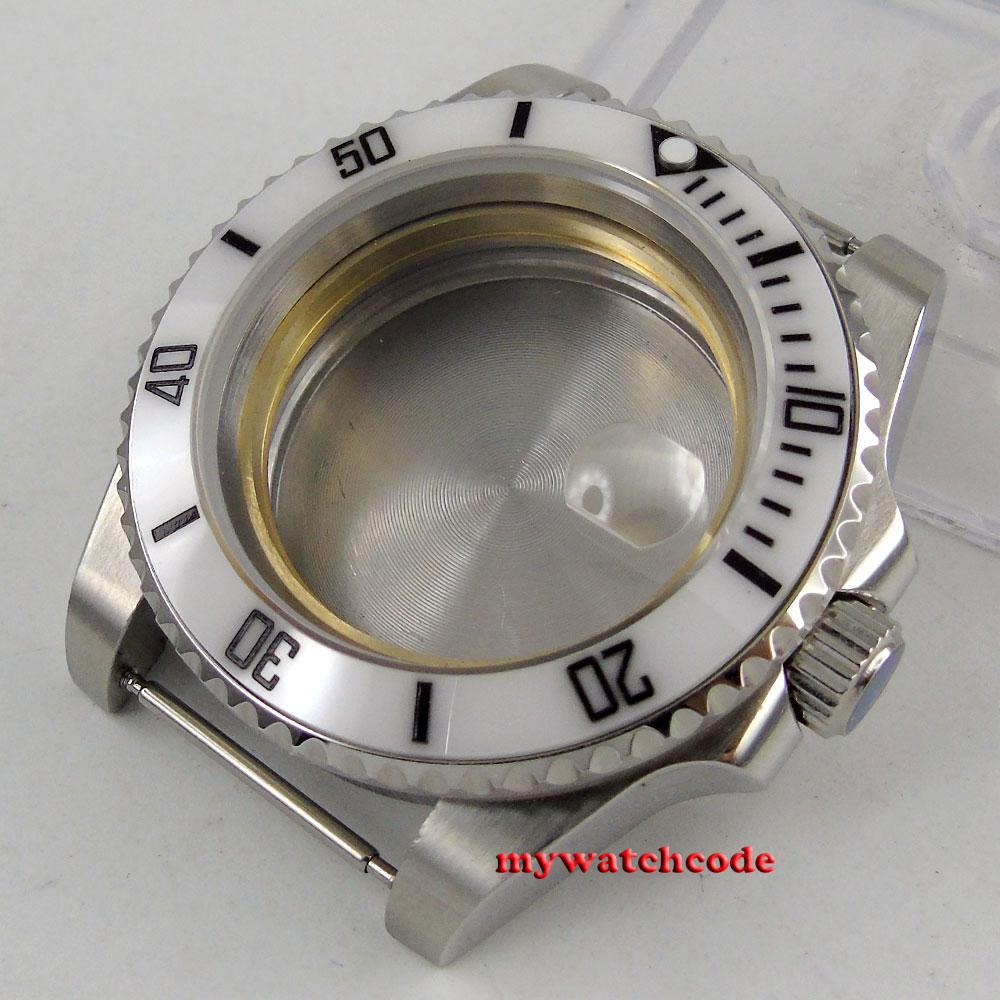 43mm sapphire glass ceramic white bezel Watch Case fit ETA 2824 2836 MOVEMENT