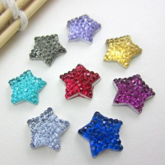 ¡De ventas! 11mm 100 Uds artesanía DIY Flatback resina punteada Diseño de estrellas cabujón de diamante de imitación gemas, diamantes de imitación de resina con parte posterior plana